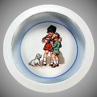 Vintage German Baby Plate - Child's Feeding Dish with Children and Dog