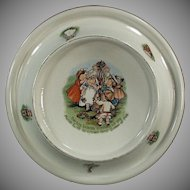 Vintage Tiny Todkins Baby Plate Feeding Dish - May Day Celebration