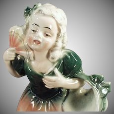 Vintage Young Girl with Fan Figurine - Hertwig Made in Germany