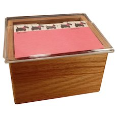 Vintage Oak File Box with Scotty Dog Recipe Index Cards