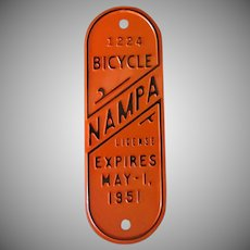 Vintage Bicycle License Plate from Idaho - 1951
