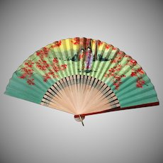 Vintage Japanese Bamboo and Paper Folding Fan with Geishas – Occupied Japan