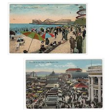 Two Vintage Postcards -  Long Beach, California Souvenirs - 1920's The Pike