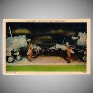 Vintage Postcard - WWII Prop Airplanes - Night Training Flight