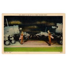 Vintage Postcard - WWII Prop Airplanes - Night Training Flight
