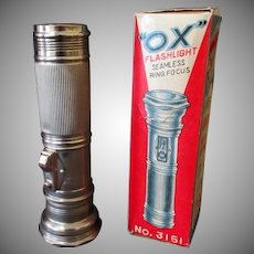 Vintage Battery Operated Ox Flashlight with Original Graphic Box