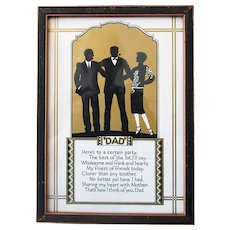 """Vintage Motto for Father's Day -  """"Dad"""" Poem & Silhouette Print"""