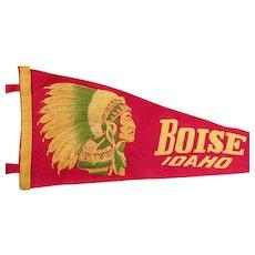 Vintage Felt Pennant – Boise Idaho Souvenir Pennant with Indian Chief