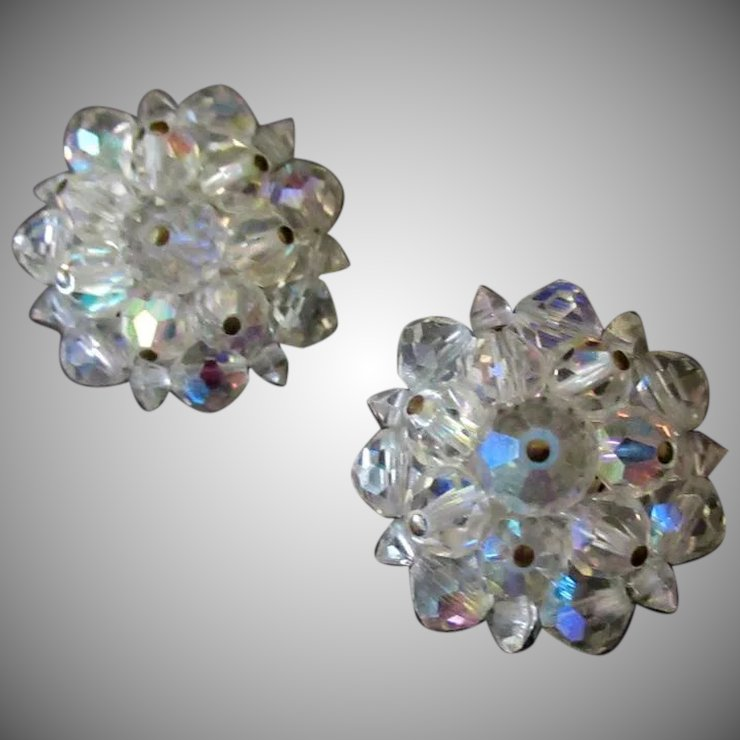 Vintage Costume Jewelry Clip On Earrings Iridescent Crystal Bead Cers