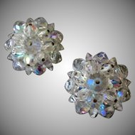 Vintage Costume Jewelry Clip On Earrings - Iridescent Crystal Bead Clusters