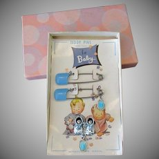 Vintage Baby Gift – Teddy/Diaper Pins, Shoe Pin & Religious Medal w-Box