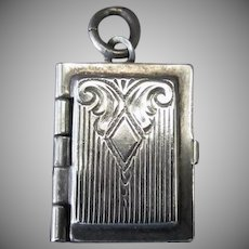 Vintage Sterling Silver Charm - Opening Book with Chased Design