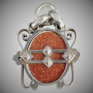 Vintage Goldstone Watch Fob in Unusual Silver Colored Mount