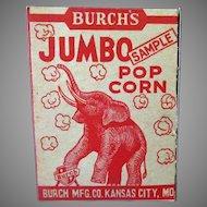 Vintage Burch's Best Popcorn Sample Box with Jumbo the Elephant