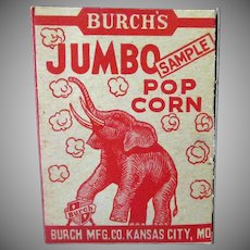 Vintage Burch's Best Popcorn Sample Box with Jumbo the Elephant