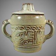 Vintage Frankoma Pottery - Mayan Aztec Covered Sugar - Desert Gold