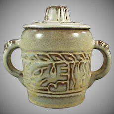 Vintage Frankoma Pottery - Mayan Aztec Covered Sugar - Desert Gold