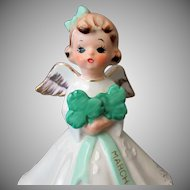 Vintage March Birthday Angel with Shamrock Bouquet
