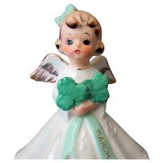 Vintage March Birthday Angel with Shamrock Bouquet