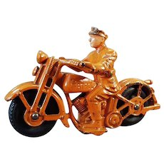 Vintage Cast Iron Patrol Motorcycle Toy - All Original - Large Size