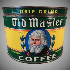 Vintage Coffee Tin – Master 1# Key Wind Coffee Can – Euclid Co.