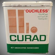 Vintage Curad Ouchless Band-aid Bandages Tin with Assorted Sizes Shown