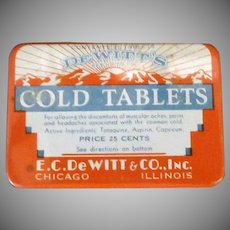 Vintage De Witt's Medicine Tin – Cold Tablets – Medical Advertising