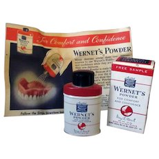Vintage Wernet's Denture Powder - Sample Size Tin with Original Box