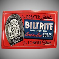 Vintage Advertising Sign - Biltrite Soles for Shoes Self Framed Tin Sign