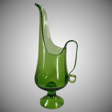 Vintage Green Glass Ewer Pitcher - Classic Form - 1960's Decorative Accent