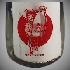 Vintage Ardens Farms Half Pint Milk Bottle w- Pyroglazed Advertising