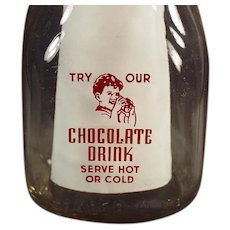 Vintage Romney Dairy Half Pint Chocolate Milk Bottle w- Pyroglazed Advertising