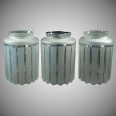 Three Vintage Light Fixture Shades - Large Neck - Frosted Deco Style