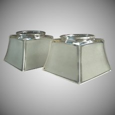 Pair of Vintage Light Fixture Shades for Large Shade Holders - Frosted