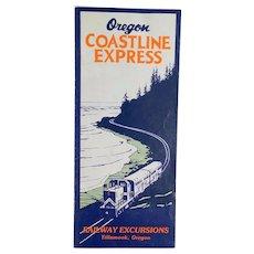 Vintage Oregon Coastline Express Rand McNally Map