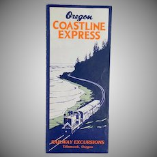 Vintage Oregon Coastline Express Rand McNally Map