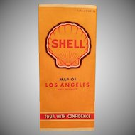 Vintage Shell Gasoline Advertising - Los Angeles Road Map - 1940's