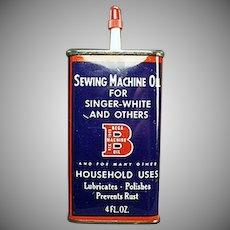 Vintage Bega Sewing Machine Oil Advertising Tin