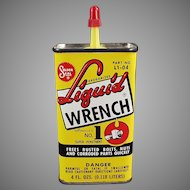 Vintage Liquid Wrench Tin - Colorful Advertising Oil Tin