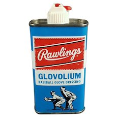 Vintage Rawlings Glovolium Leather Baseball Glove Dressing Tin