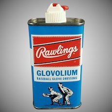 Vintage Rawlings Glovolium Leather Baseball Glove Dressing Tin