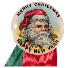 Vintage Santa Claus Pinback - Celluloid Christmas Pin Back with Ribbons and Card