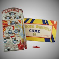 Vintage Marx Bazooka Bagatelle Military Marble Game with Original Box