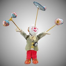 Vintage Juggling Clown Wind Up Toy – Japanese Tin and Composition W-up