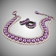 Vintage Costume Jewelry Suite - Triple Strand Purple Bead Choker and Earring Suite