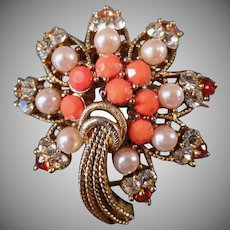 Vintage Costume Jewelry Brooch with Rhinestones, Faux Coral & Pearls