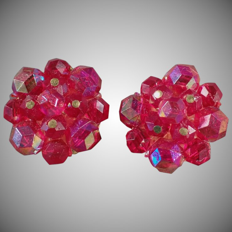 Vintage Costume Jewelry Clip On Earrings Iridescent Berry Bead Cers W German