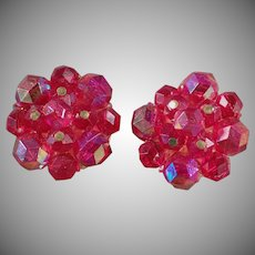 Vintage Costume Jewelry Clip On Earrings - Iridescent Berry Bead Clusters - W.German