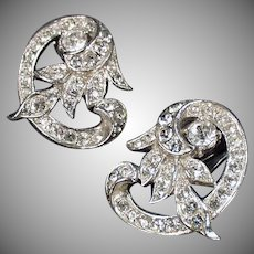 Vintage Costume Jewelry - Fancy Rhinestone Clip-On Earrings