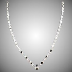 Vintage Single Strand Rhinestone Necklace with Baguette Shapes